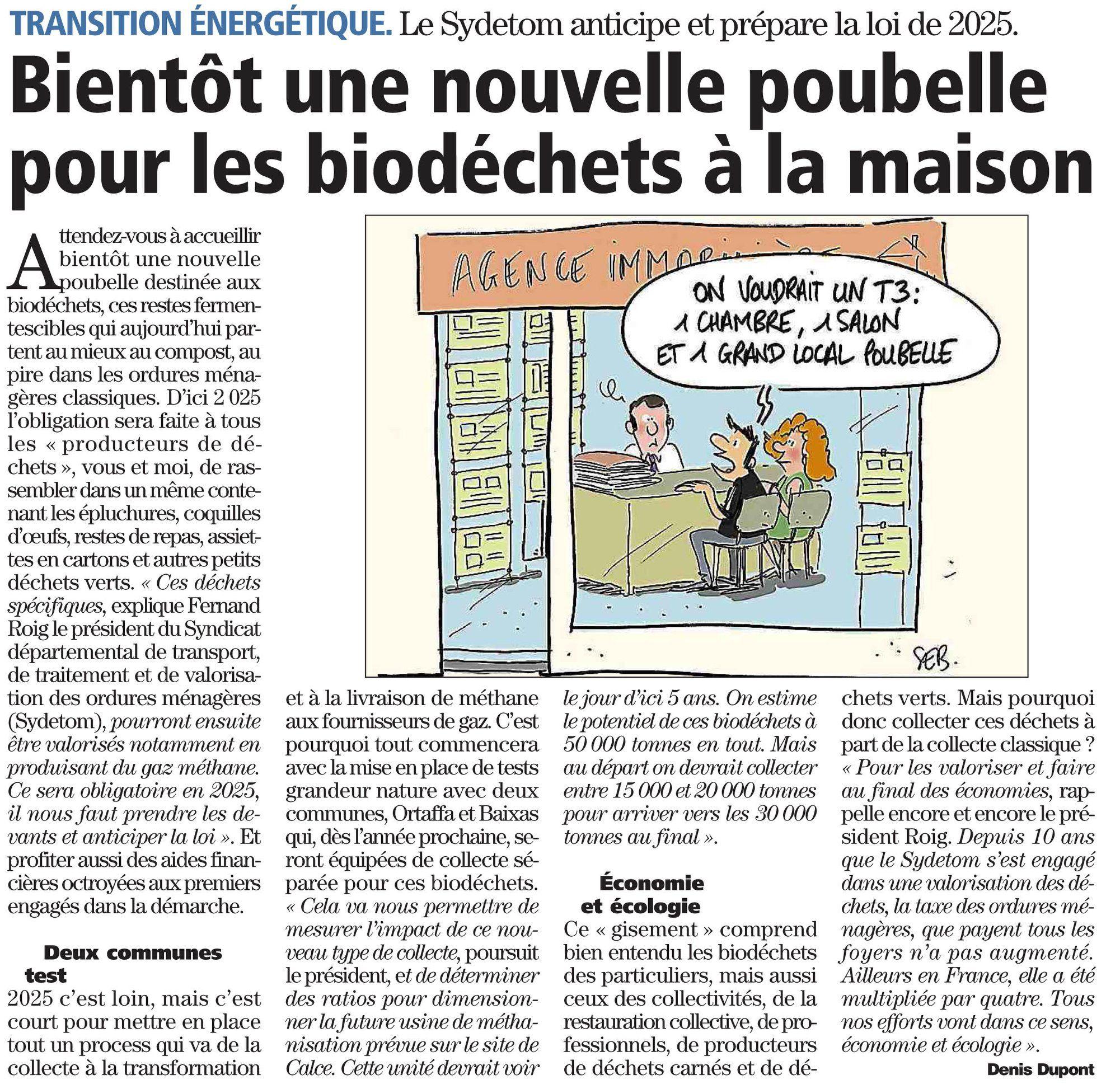 P.-O. – Bientôt une nouvelle poubelle pour les biodéchets à la maison